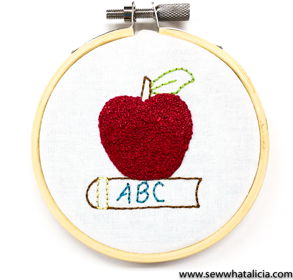 How To Embroider A French Knot Back To School Apple Sew What