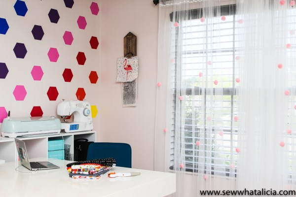 Quick and Easy Ikea Curtain Hack: This quick curtain hack is perfect for adding a touch of fun to your craft room or to your little girl's room! Click through for the full tutorial.  www.sewwhatalicia.com