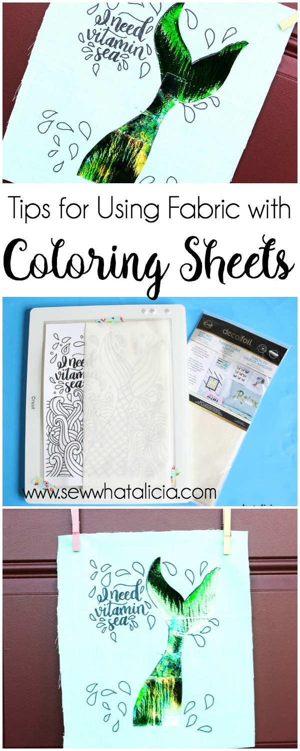 How to Use Coloring Pages on Fabric (with foil!): Do you love coloring pages but want to get more functionality from them? Check out this tutorial for adding the images from coloring pages to fabric! Click through for the full tutorial and a video walkthrough.   www.sewwhatalicia.com
