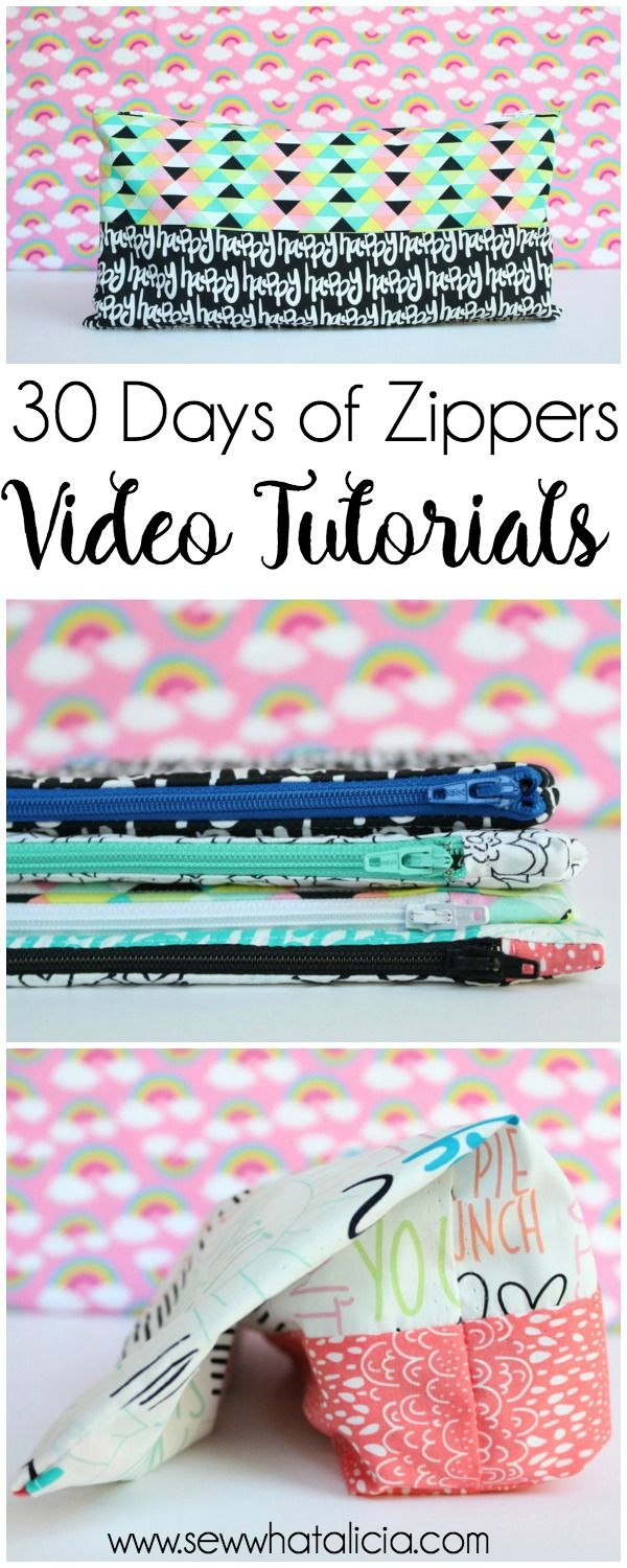 30 Days of Zippers - Video Tutorials (part 2): Day 8 through 15. Click through for 7 full video tutorials to master sewing the zipper. | www.sewwhatalicia.com