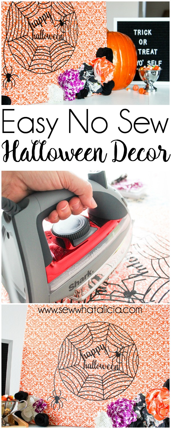 Easy No Sew Halloween Decor: This easy no sew fabric halloween decor is perfect for adding a fun touch to your decorating. Click through for the full tutorial. | www.sewwhatalicia.com