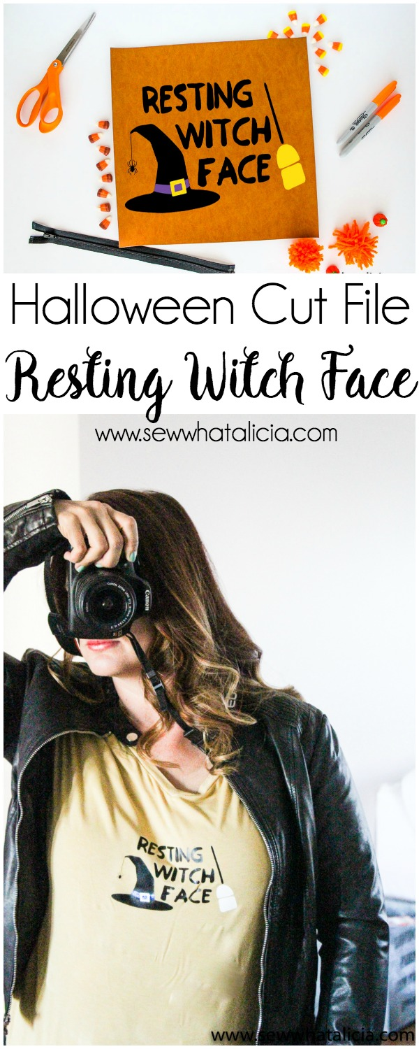 Halloween Cut File - Resting Witch Face: Come grab this free cut file and make yourself a fun t-shirt or piece of art. | www.sewwhatalicia.com