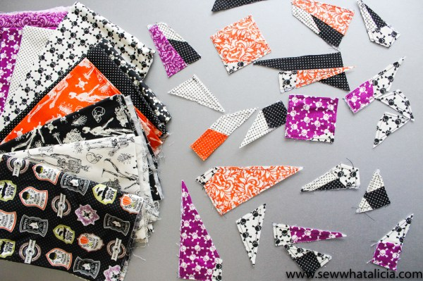 Skull Quilt Block Paper Piecing Pattern: This is a great paper piecing tutorial for Halloween! This sewing tutorial is perfect for those who love to paper piece. Click through for the tutorial and a video walkthrough. | www.sewwhatalicia.com
