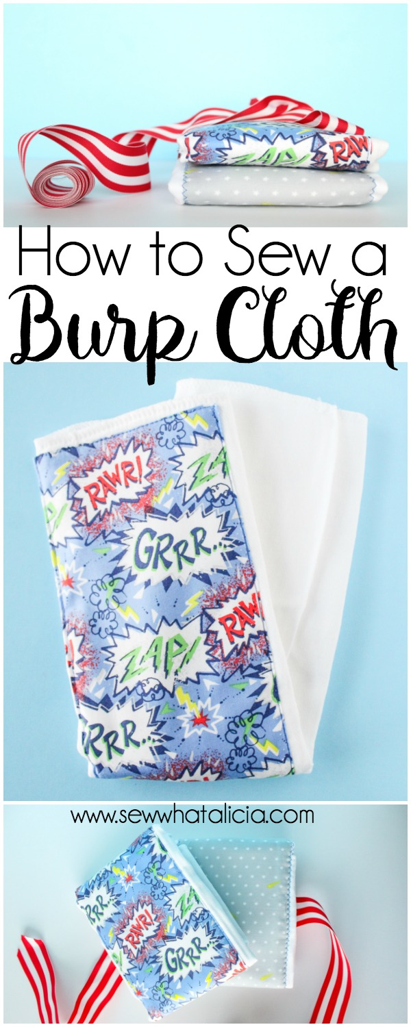 Easy and Adorable Burp Cloth Pattern: This burp cloth is super quick and easy to sew. This is a great project for beginners. Click through for the free pattern and tutorial. | www.sewwhatalicia.com