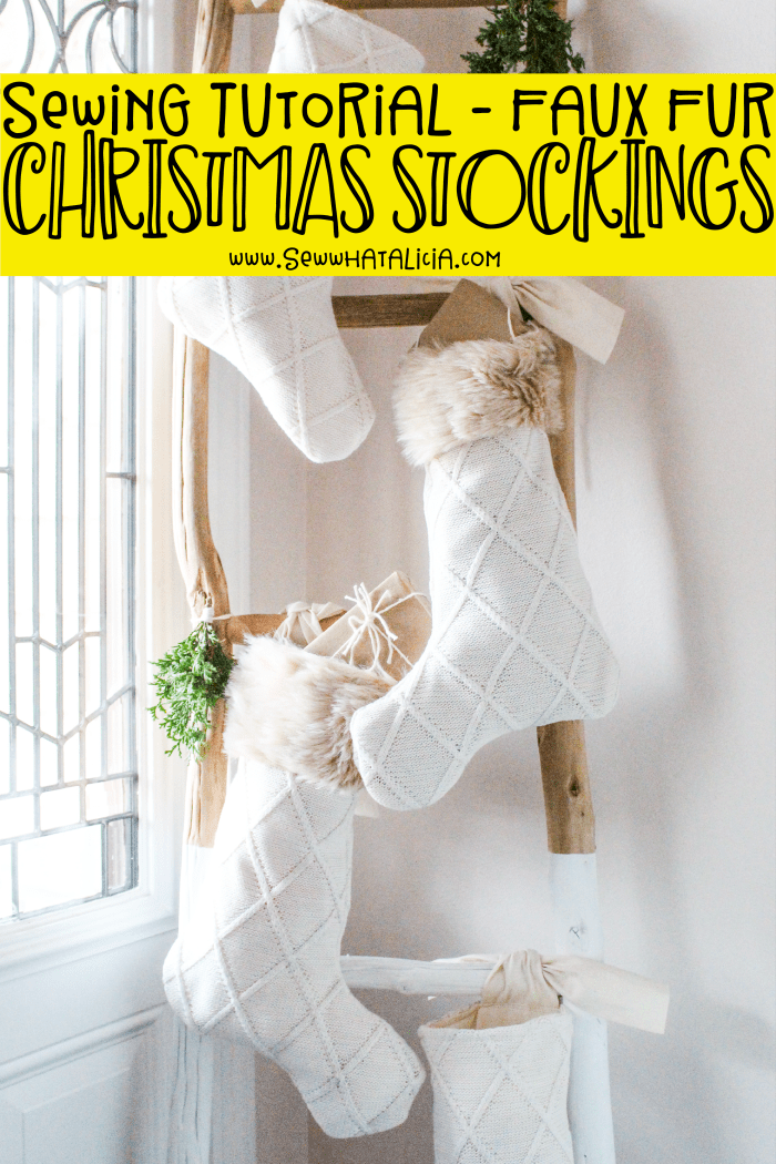 Faux Fur Christmas Stocking DIY: Head over for this easy sewing tutorial. Sew these fun stockings with a fun faux fur trim. Click through for a full tutorial and video walkthrough. | www.sewwhatalicia.com