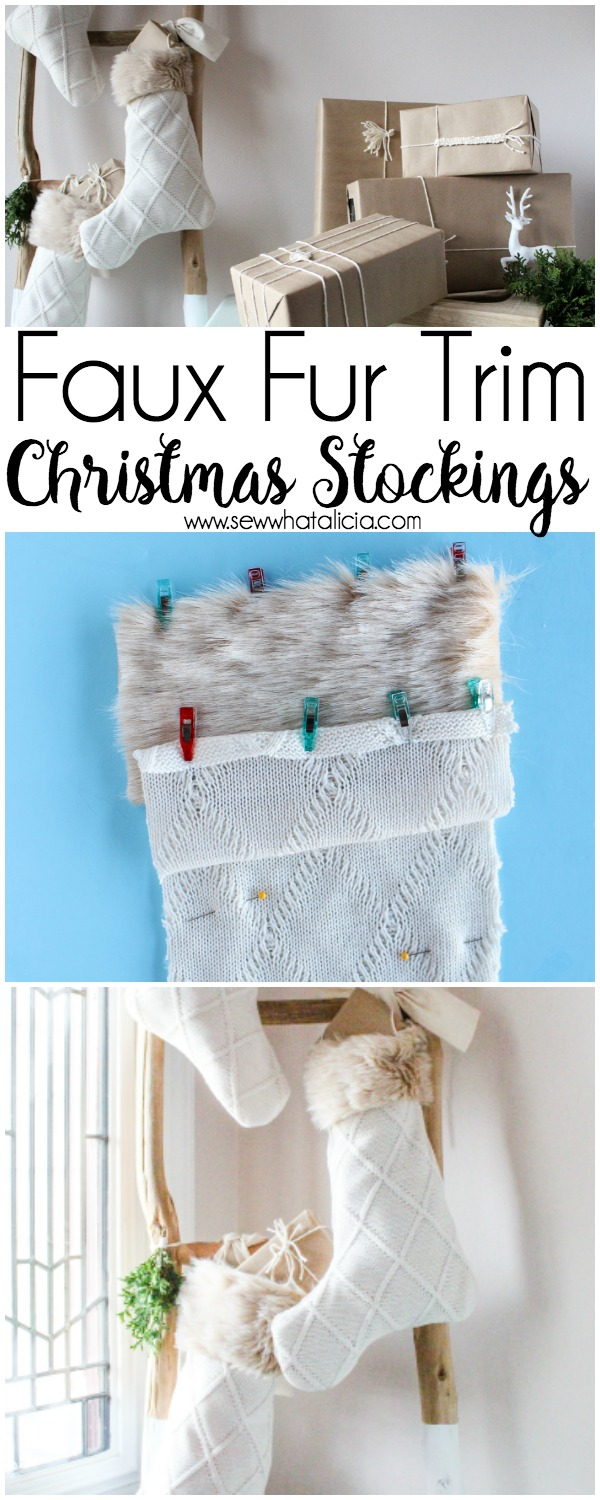 Faux Fur Christmas Stockings Sewing Tutorial: This sewing tutorial is great for all sewing levels. Grab the free cut file and template and create your own stockings this year. Click through for a full tutorial and free cut file. | www.sewwhatalicia.com
