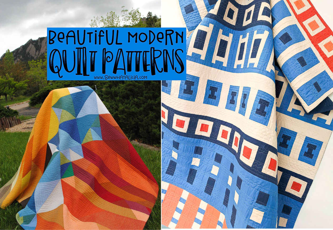 two modern quilts with text overlay reading beautiful modern quilt patterns