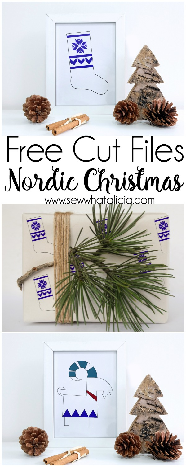 Nordic Christmas Stocking and Cut Files: Head over and grab two free cut files. They can be used in so many ways! Click through for a stocking tutorial and cut file tips. | www.sewwhatalicia.com