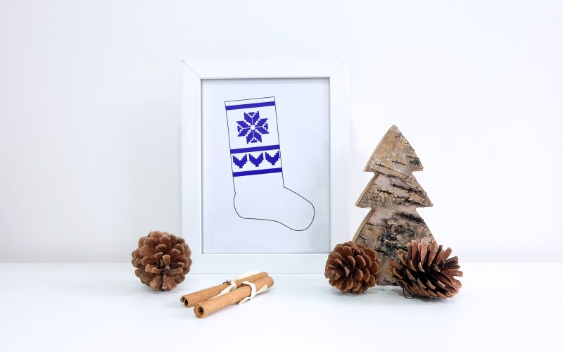 Nordic Christmas Stocking and Cut Files