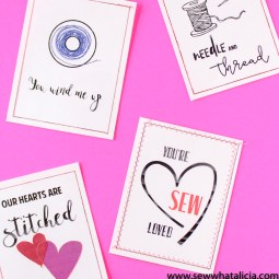 Print then Stitch Valentine's Day Cards