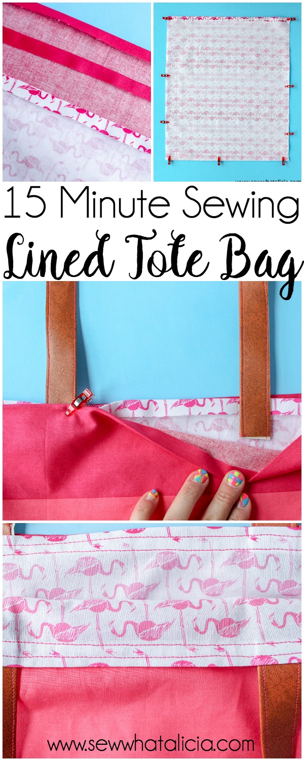 How to Make a Tote Bag: This installment of the 15 minute sewing series has us creating an easy lined tote bag. This is a great beginner sewing project. Newbies will learn to create an easy tote pattern. Click through for the full tutorial. | www.seewwhatalicia.com