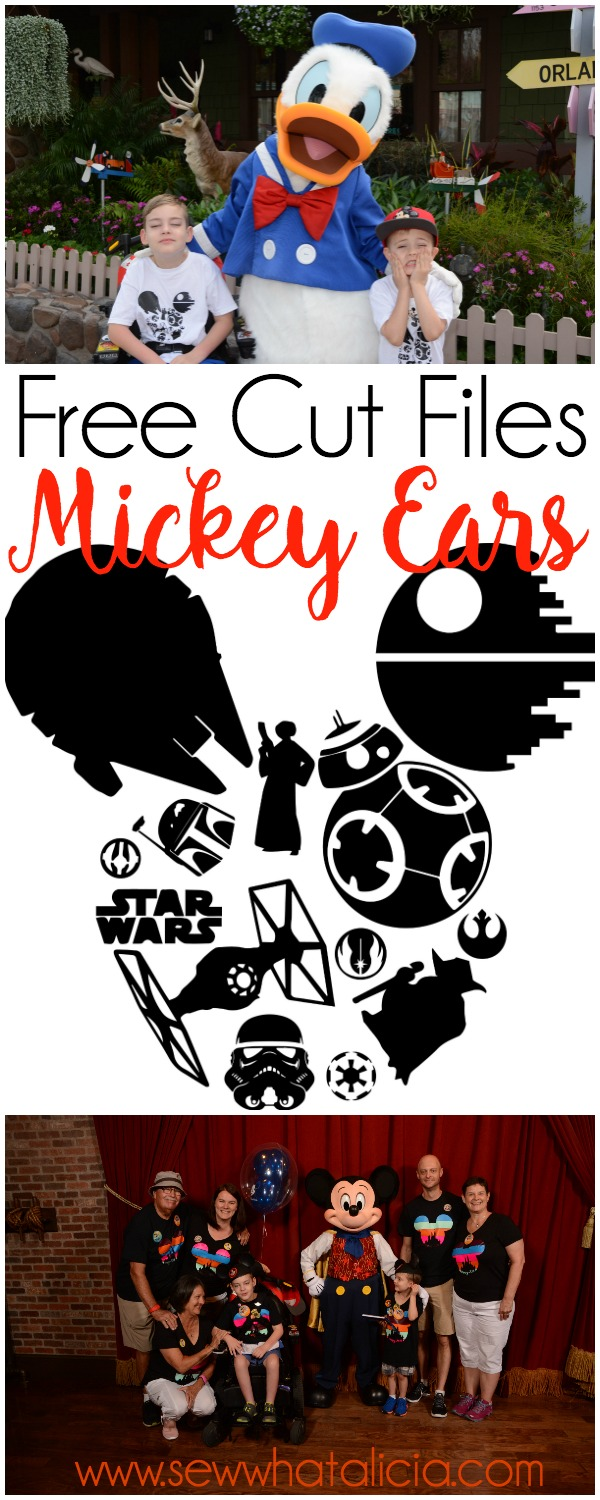Free SVG Cut Files - Mickey Ears: These free svg cut files are perfect for making your own custom Disney shirts. Click through for the free files. | www.sewwhatalicia.com