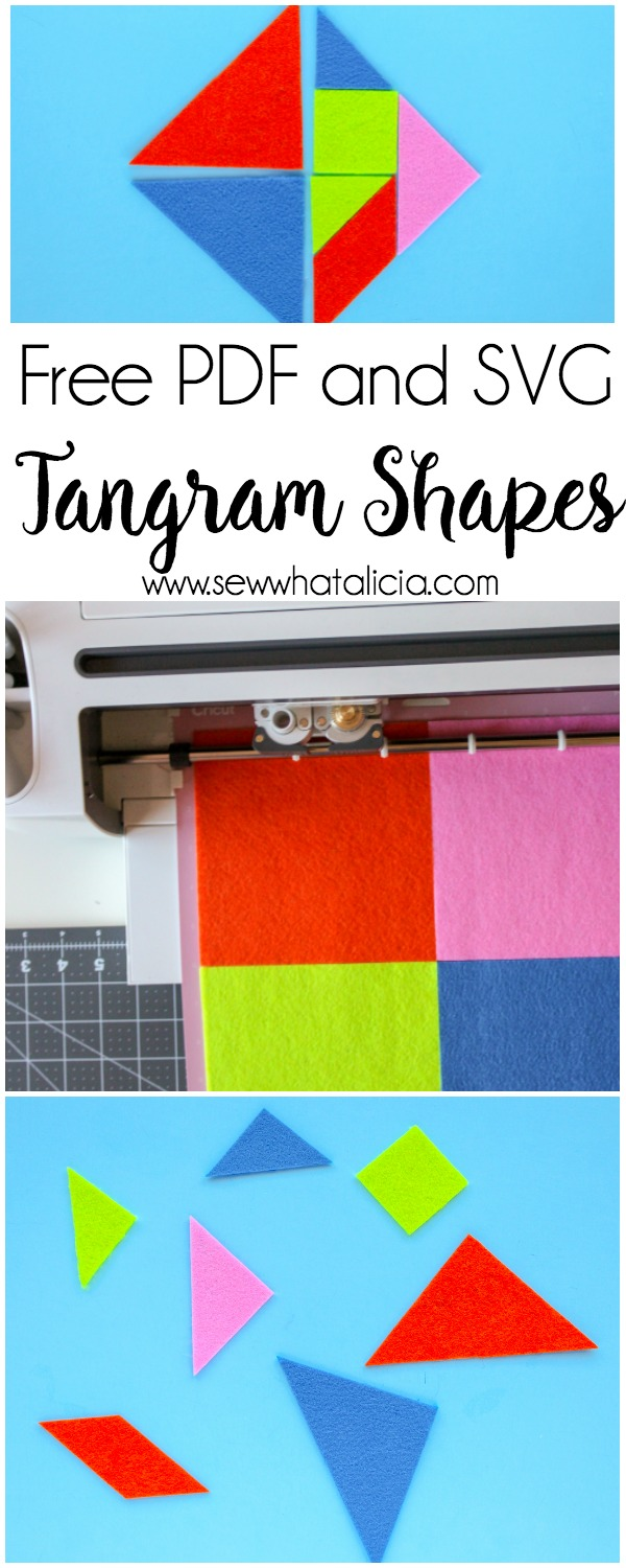 Cuttable and Printable Tangrams PDF: This pattern can be used with your cutting machine or you can cut them by hand. These are great for keeping the kids busy and stimulating their tiny brains! Click through for the free patterns. | www.sewwhatalicia.com