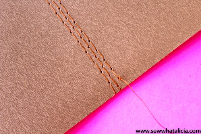 Personalized Leather Journal DIY with Cricut: Sew along the middle seam. Reinforce with three lines of stitching. | www.sewwhatalicia.com