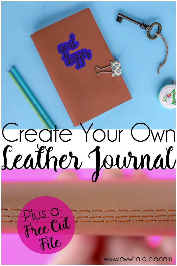 Personalized Leather Journal DIY with Cricut: Create your own leather journal. This is a great gift to sew for all the special people in your life. This project is perfect for beginners learning to sew. Click through for the full tutorial plus a free cut file. | www.sewwhatalicia.com