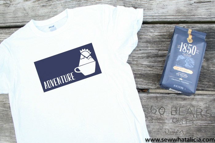 Free Adventure Coffee Cup SVG: Pictured flat lay of t-shirt featuring cut file and bag of 1850 coffee. | www.sewwhatalicia.com