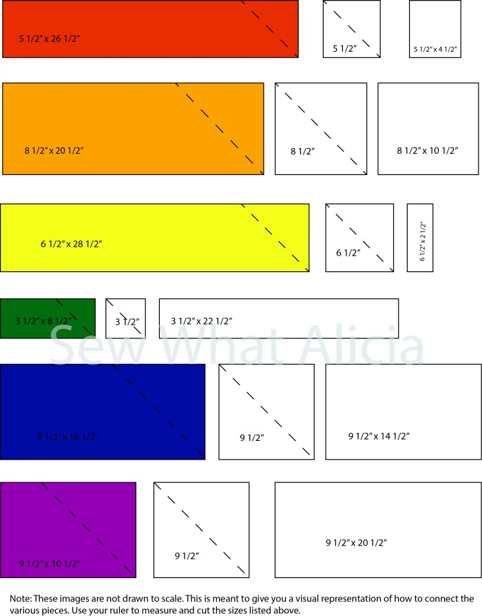 Scrappy Easy Rainbow Quilt Pattern and Tutorial: Pictured various measurements to achieve quilt. | www.sewwhatalicia.com
