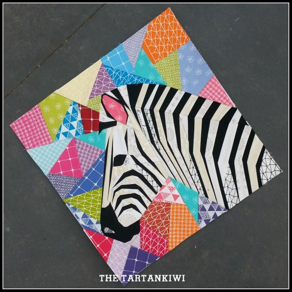 pictured colorful zebra fpp quilt block