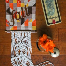 Fall Quilt Block Door Hanging Tutorial: These fall quilt blocks are fun to use to make. Turn it into a door hanger and add some macrame to finish the look. Click through for the full tutorial.   www.sewwhatalicia.com