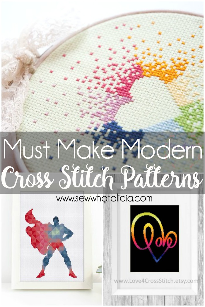 Modern Cross Stitch Patterns: These aren't your grandma's cross stitch patterns. I have put together tons of fun and modern cross stitch patterns for you to create. Click through for the full list. | www.sewwhatalicia.com
