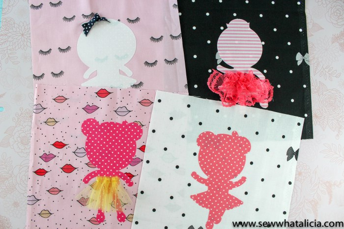 Easy Quilt Blocks with Cricut EasyPress 2: These adorable ballerina blocks are easy to make with your Cricut EasyPress 2. Click through for the full tutorial and supply list. #sewwhatalicia #cricutmade #sewcricut | www.sewwhatalicia.com