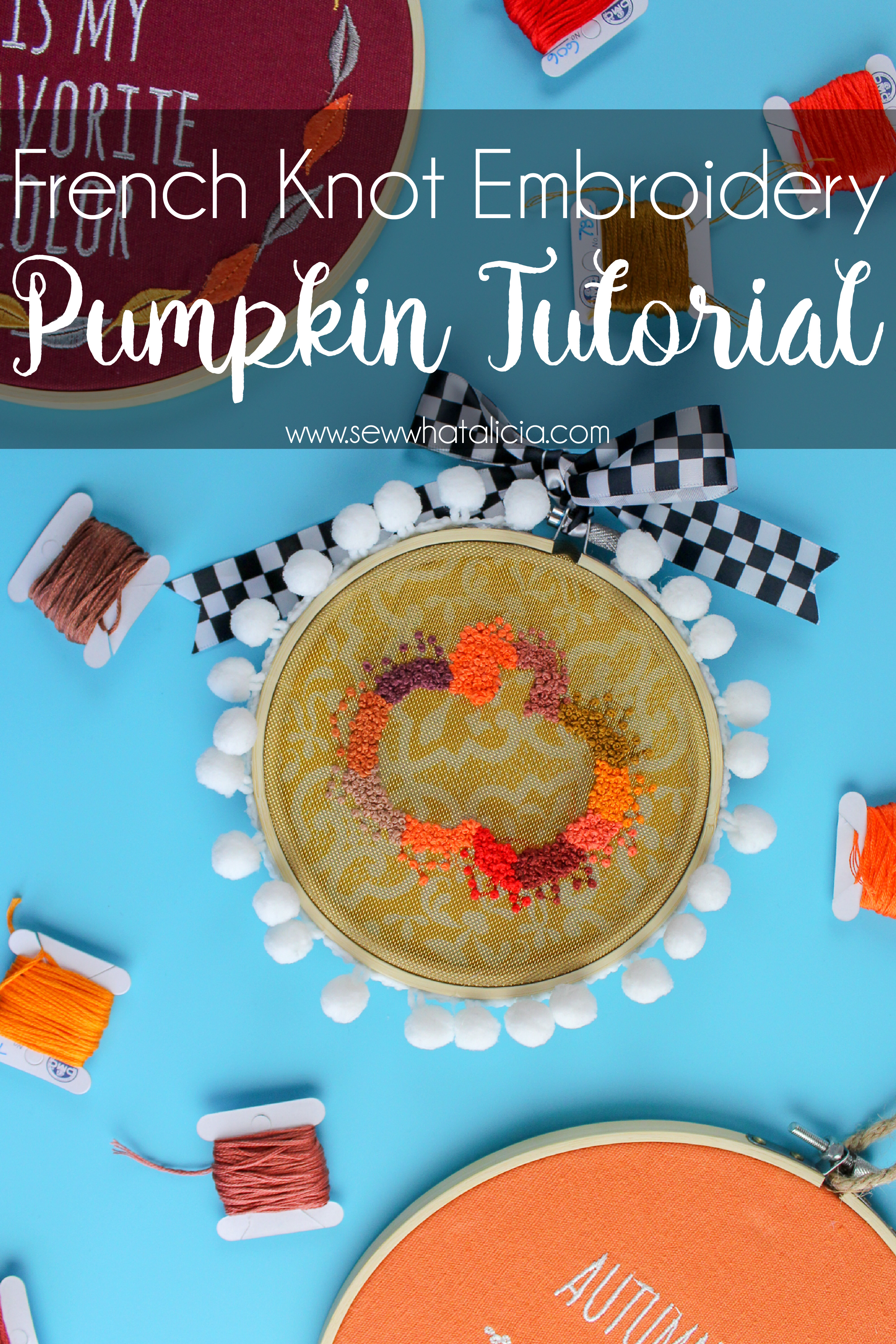 French Knot Embroidery Pumpkin Pattern And Tutorial Sew What Alicia