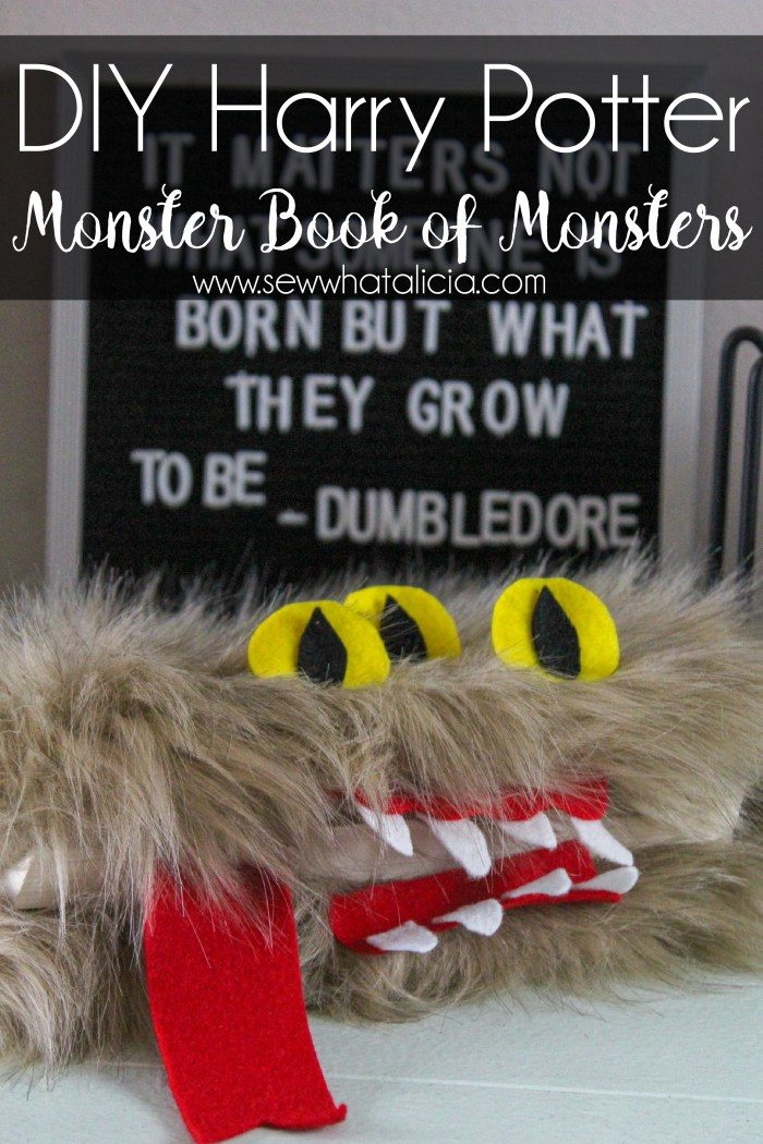 DIY Harry Potter Book of Monsters: This is a fun and easy no sew project. Create this Harry Potter inspired decor for your Halloween decorations! Click through for the full tutorial. | www.sewwhatalicia.com
