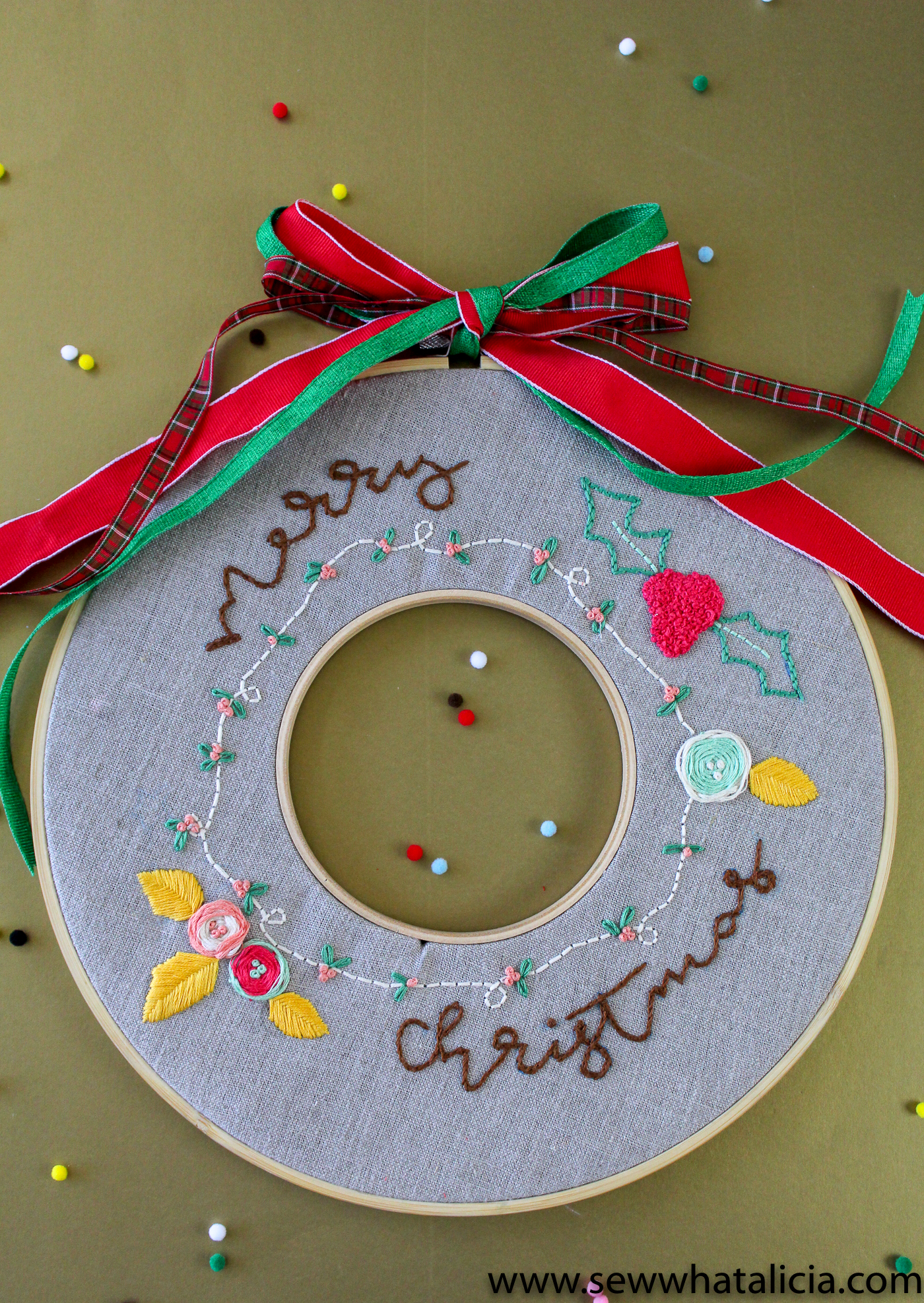 how to embroider a christmas wreath sew what alicia