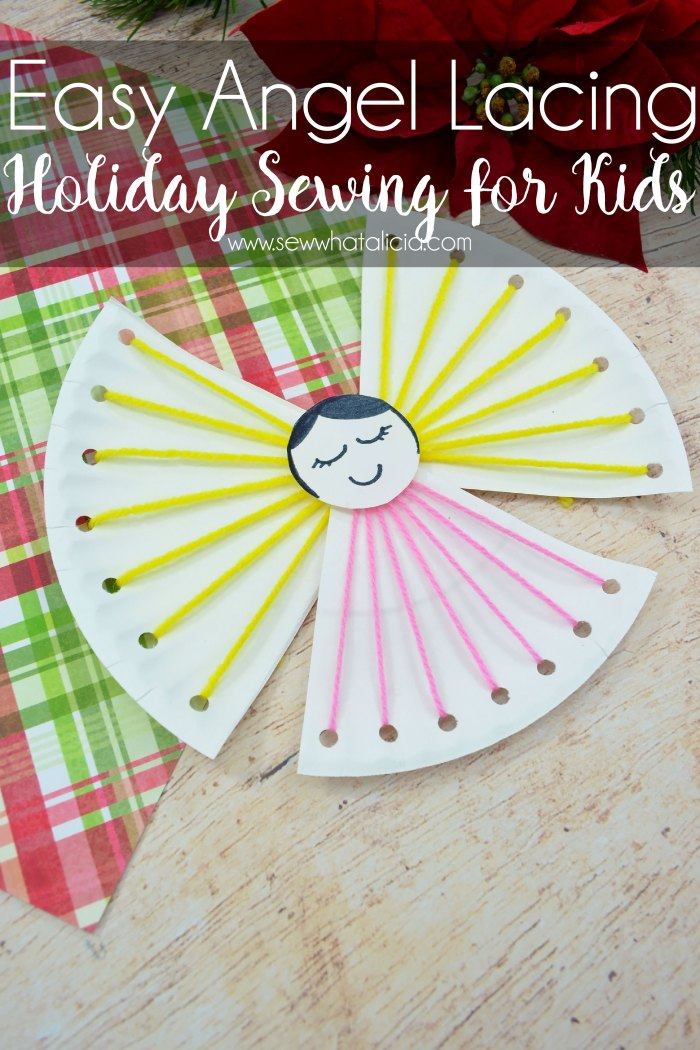 Easy Christmas Crafts for Kids - Angel Lacing Project: This holiday lacing project is a great introduction to sewing for kids. Click through for the full tutorial. | www.sewwhatalicia.com