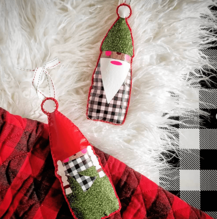 Christmas Gnome Pattern and SVG Cut File: Grab this family of gnomes cut file to create these adorable Christmas gnome ornaments. Click through for the cut file and tutorial. #sewwhatalicia #gnome | www.sewwhatalicia.com
