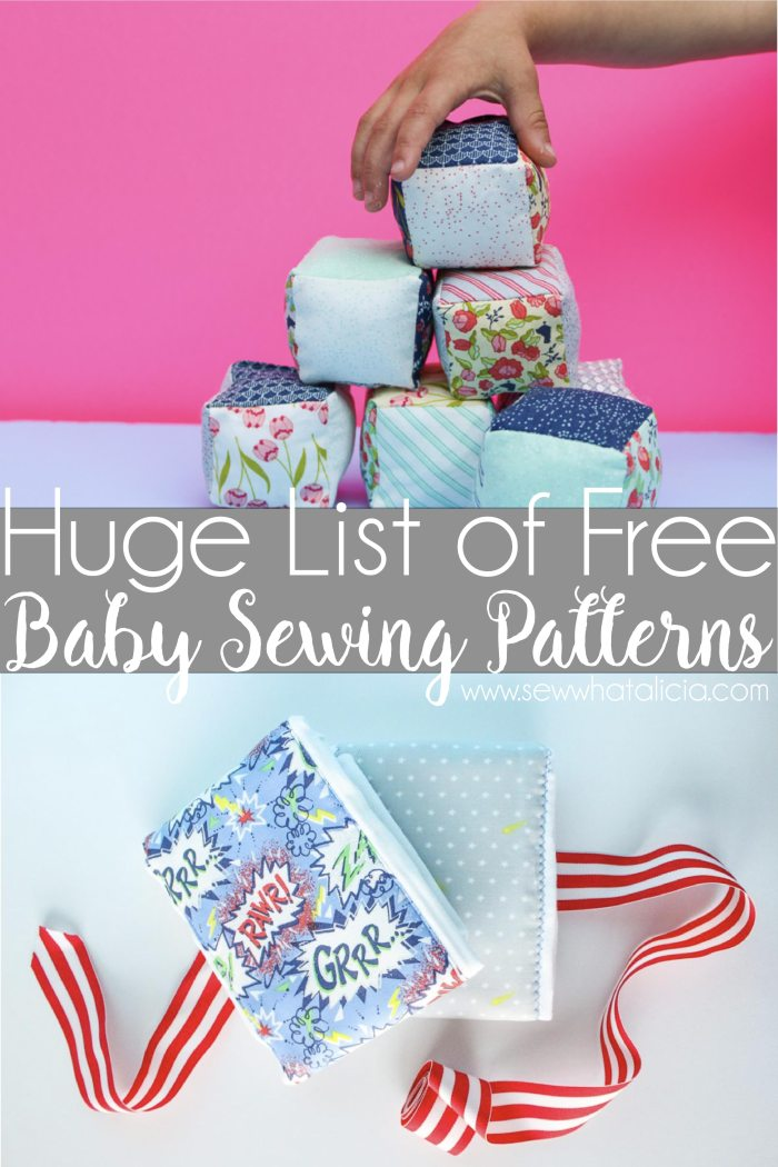 Tons of Free Sewing Patterns for Baby: If you are looking for something to sew for baby check out this huge list of great sewing tutorials for baby. These are all free patterns that you can sew for your little one. They also make great gifts. Click through for the full list. | www.sewwhatalicia.com