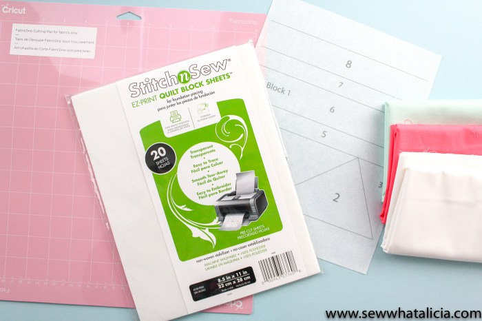 pictured: EZ print quilt block sheets, Cricut pink fabric mat, fabric, printed quilt block template.