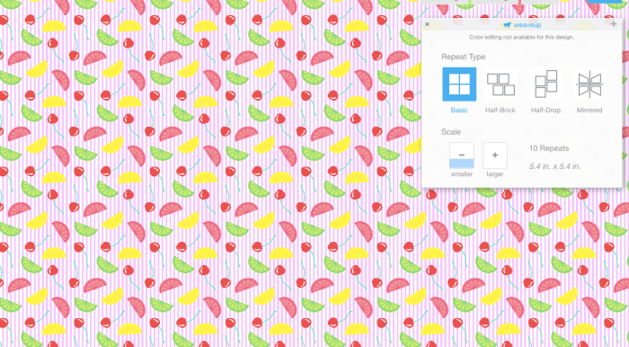 pictured: screen shot of joann my fabric customization page