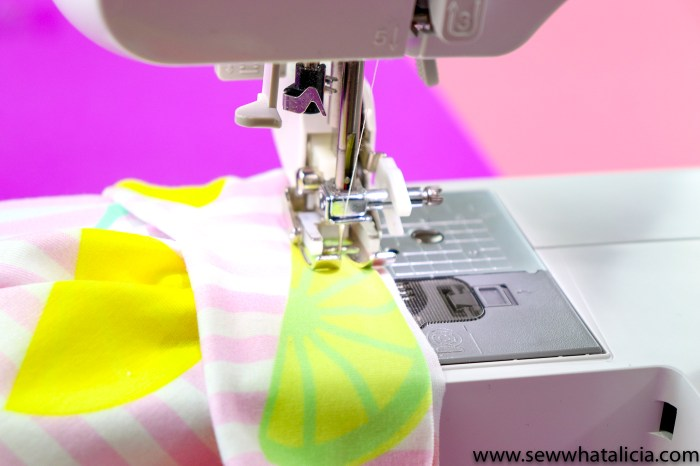 pictured: walking foot sewing the skirt to the waistband