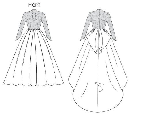 pictured wedding dress front and back illustration
