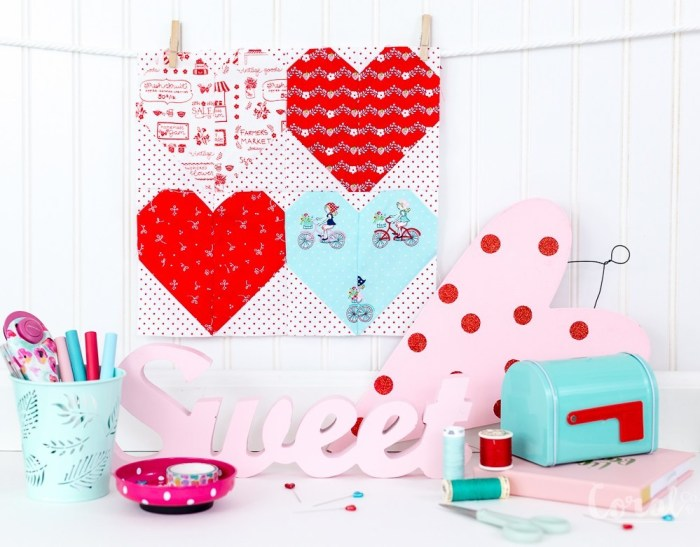 pictured heart quilt blocks and valentine's ephemera