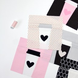 pictured multiple coffee cup quilt blocks