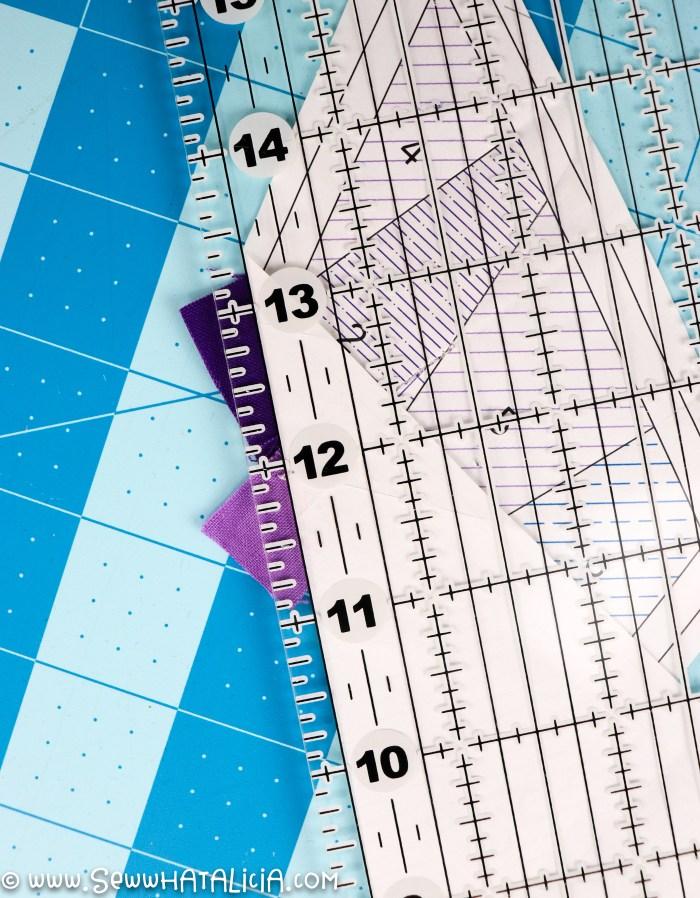 pictured: ruler cutting seam allowance