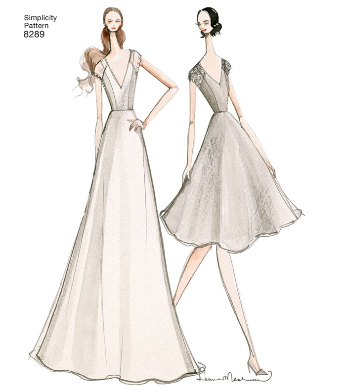 pictured illustrated wedding dress in floor length and knee length