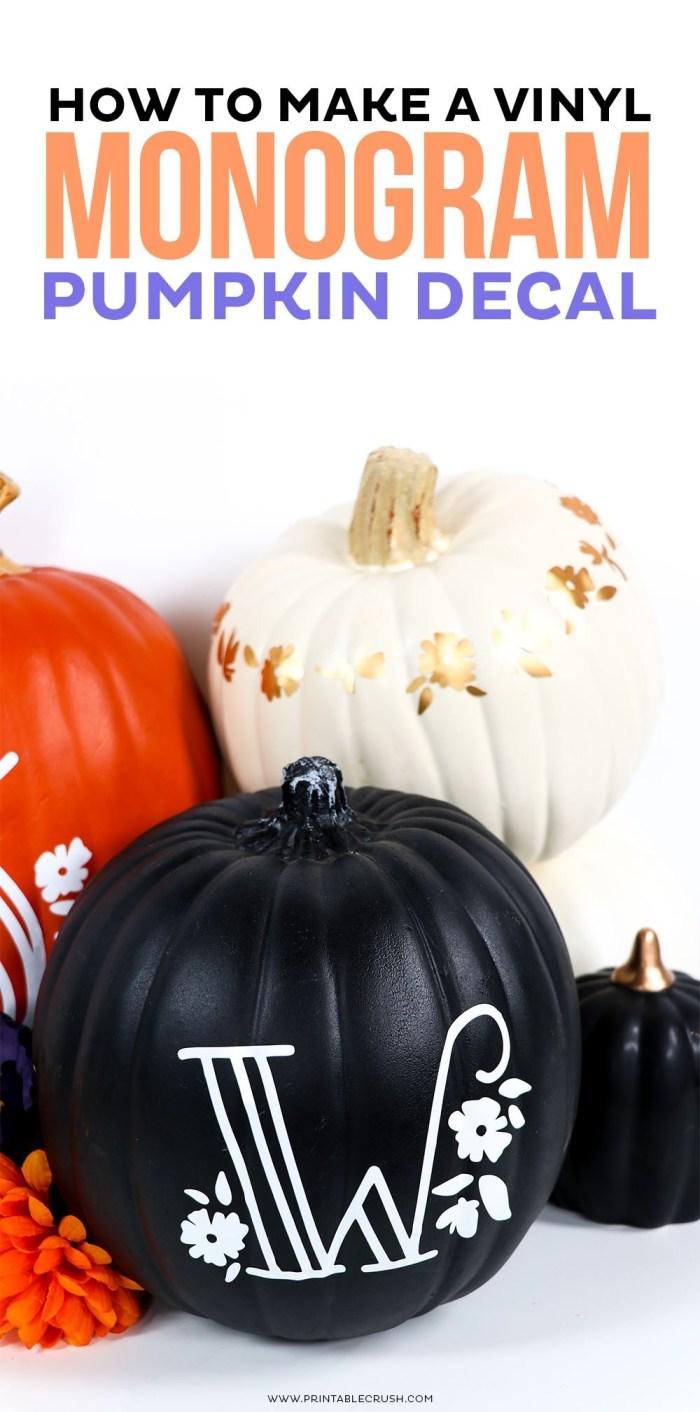 pumpkin with vinyl monogram