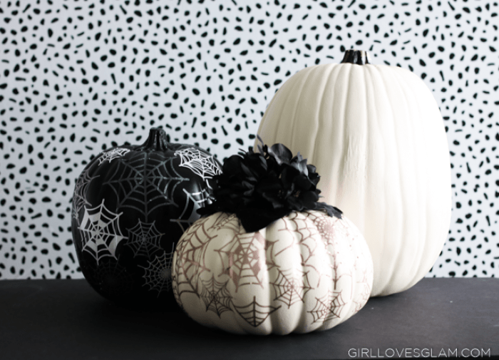 craft pumpkins with elegant vinyl spiderwebs