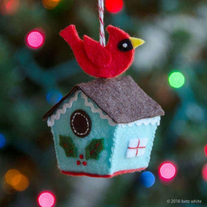 felt red robin on top of bird house ornament