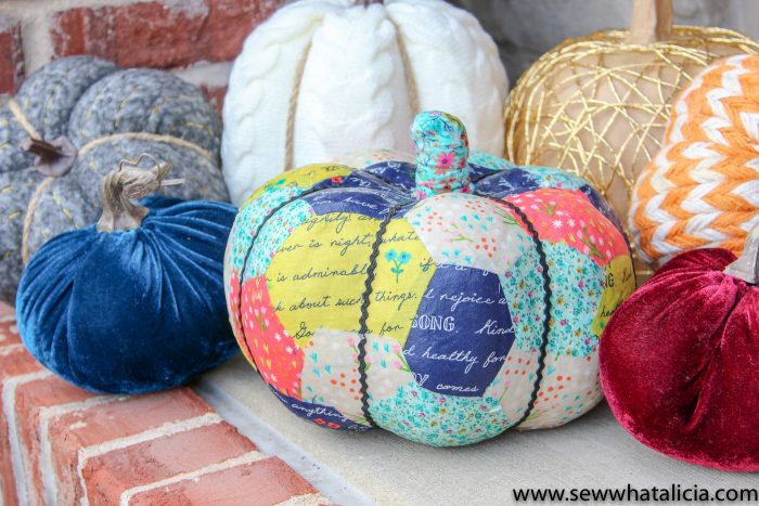 pumpkins with fabric decoupage