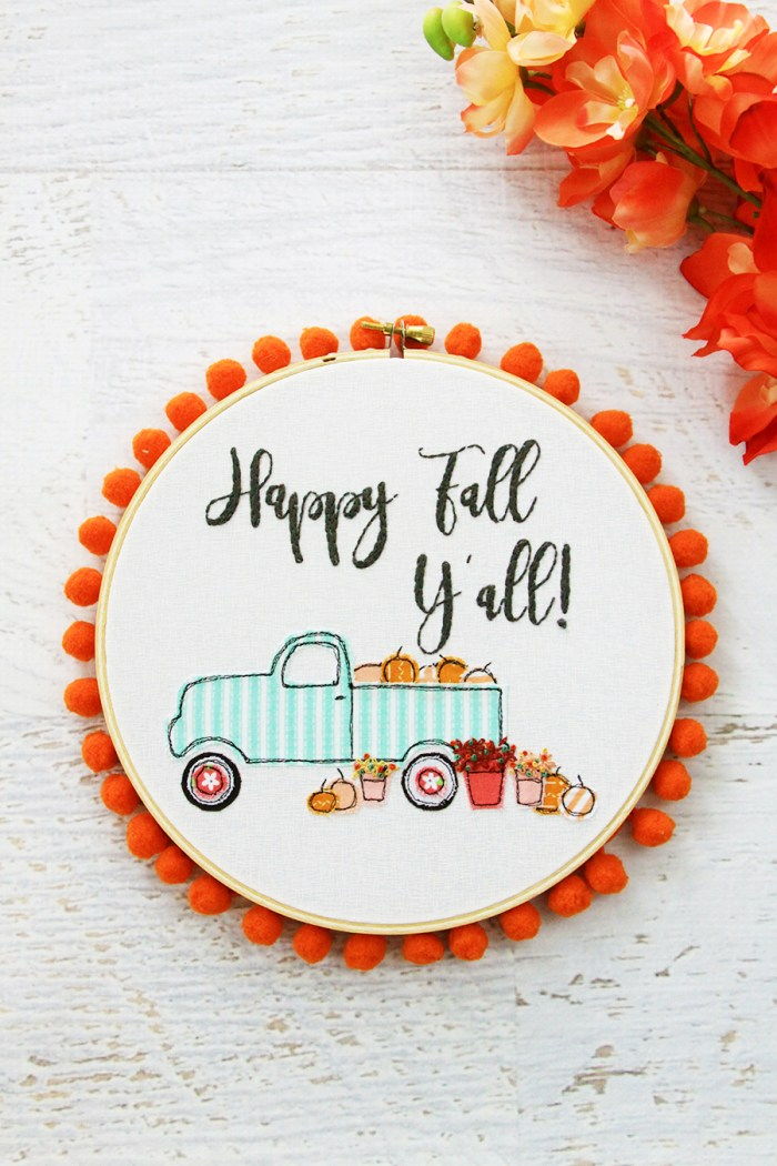 pumpkin fall embroidery hoop