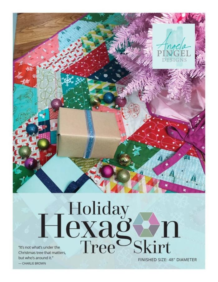 quilted hexagon shaped Christmas tree skirt