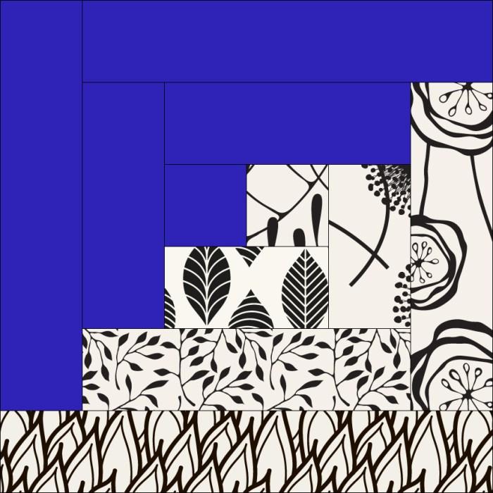 pictured log cabin quilt block mockup