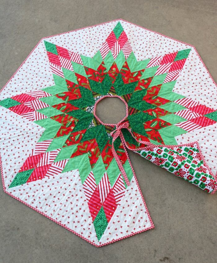 quilted lone star pattern on Christmas tree skirt