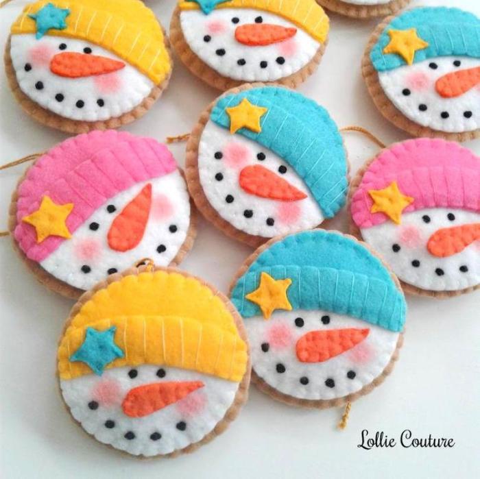 felt snowmen faces for ornaments