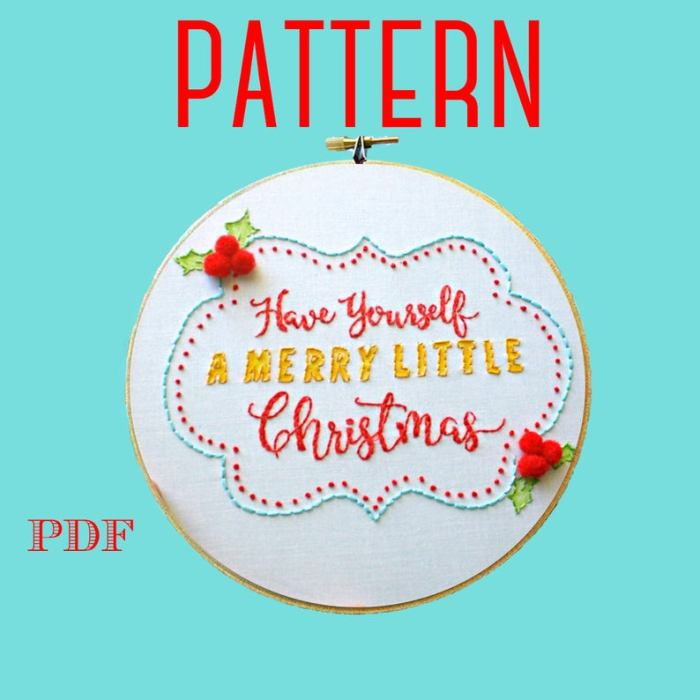 Have yourself a Merry little Christmas hand embroidery design with holly leaves and decorative border