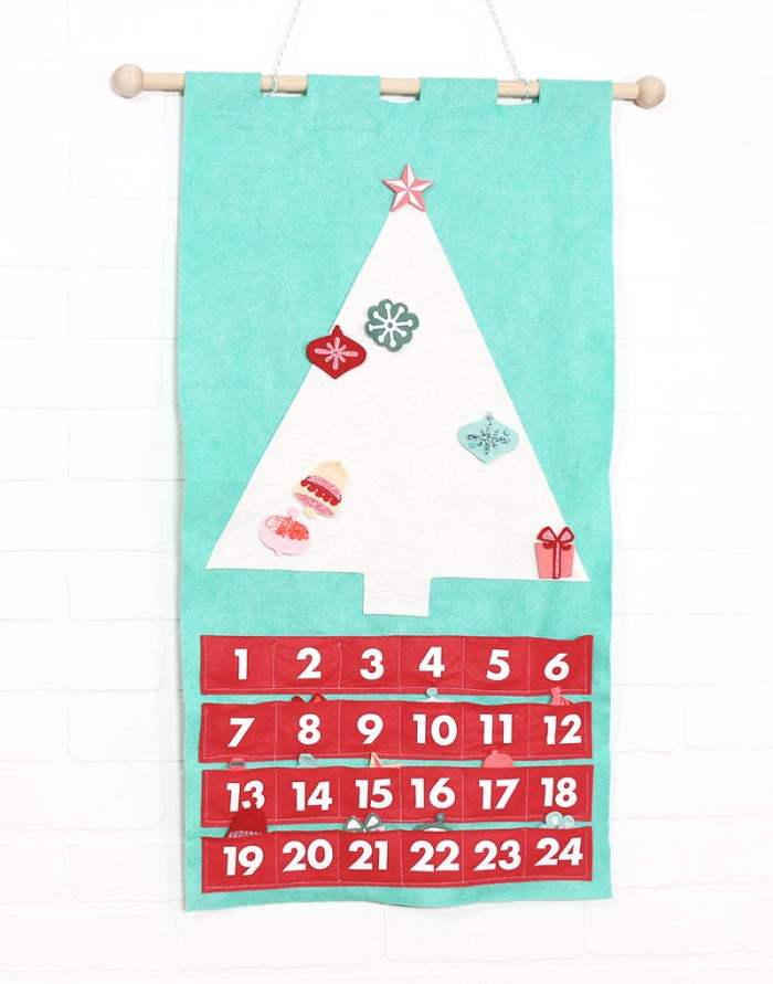 pictured felt christmas tree advent calendar